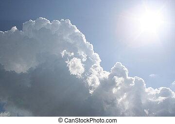 nubes, y, el, sol
