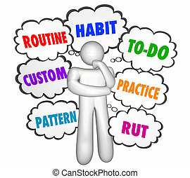 nubi, abitudine, modello, illustrazione, costume, pensiero, pensatore, routine, solco, 3d