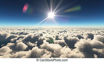 nubi, alba, sopra