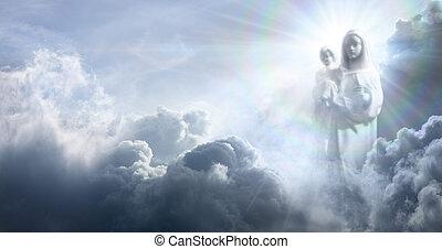 nubi, apparizione, gesù, vergine, bambino, mary