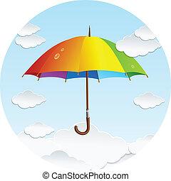nubi, arcobaleno, vettore, ombrello