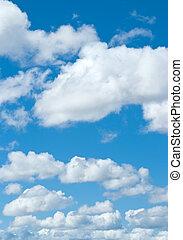 nubi bianche, su, cielo blu