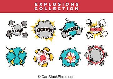 nubi, blasts., testo, comico, boom, esplosioni, cartone animato, pow, set, scoppio, bolla, soffio