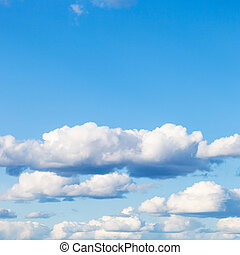 nubi, blu, cumulo, cielo, basso, molti, bianco