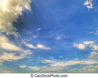 nubi, blu, sky.