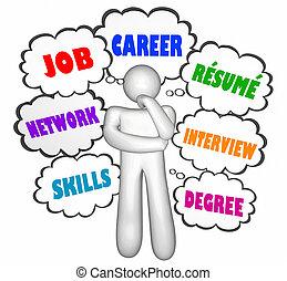 nubi, carriera, lavoro, illustrazione, pensiero, pensatore, occupazione, 3d