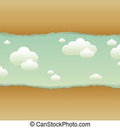 nubi, carta, vecchio