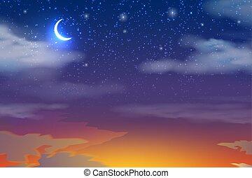 nubi, cielo, luna, vettore, tramonto, stelle