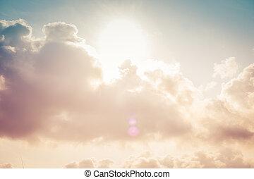 nubi, cielo tempestoso, fondo., drammatico, sunset.