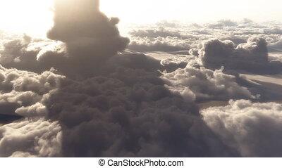 nubi, cielo, volo, altitudine, alto, drammatico, (1146),...