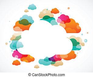 nubi, colorito, astratto, -, vettore, fondo