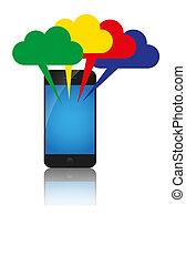 nubi, colorito, calcolare, mobile, concept., telefono, nuvola