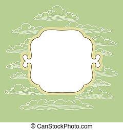 nubi, cornice, -, illustrazione, vettore, fondo