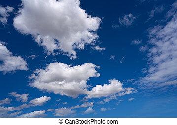nubi cumulus, perfetto, bianco, in, cielo blu