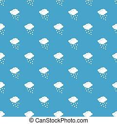 nubi, e, gocce acqua, modello, seamless, blu