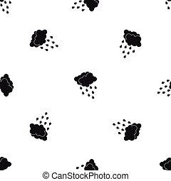 nubi, e, gocce acqua, modello, seamless, nero