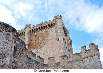 nubi, e, torre, di, castello