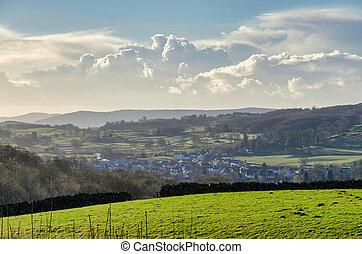 nubi, eh, cumulous, campo, verde, orizzonte, villaggio, ...