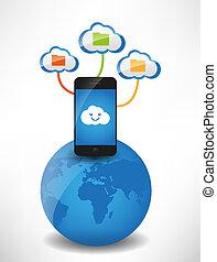 nubi, file, calcolare, mobile, globo, telefono, concept., nuvola