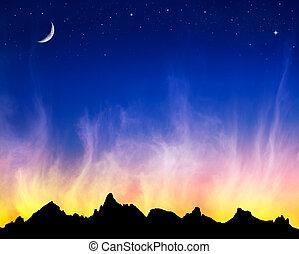 nubi, infocato, stelle