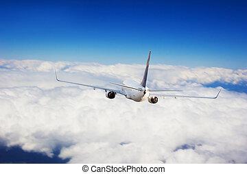 nubi,  jet, volare, commerciale, aereo, sopra