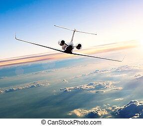nubi,  jet, volare, privato, aereo, sopra