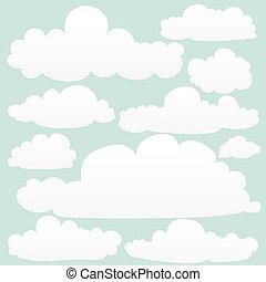 nubi, scarabocchiare, set., mano, vettore, disegnato