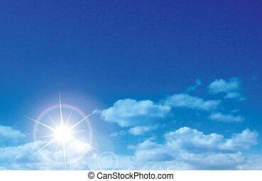 nubi, soleggiato, vettore, cielo