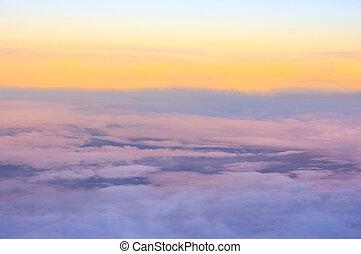 nubi, sopra, vista
