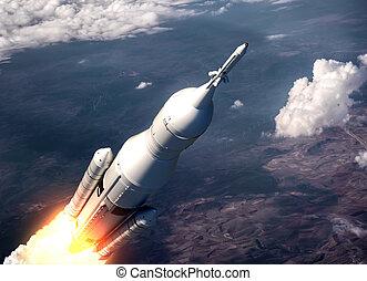 nubi, spazio, sopra, volare, sistema, lancio
