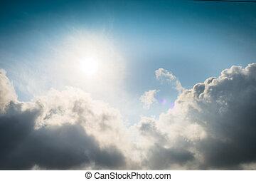 nubi, tempestoso, natura, lanuginoso, cielo, nubi, fondo., drammatico
