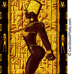 Nubian Princess. Standing against a gold background with a...