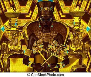 Nubian Princess. Seated on a gold chair with the crook and...