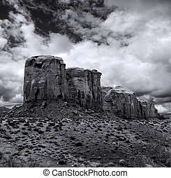 nublado, cielos, monument valley