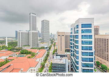 nublado, hdb, aéreo, cielo, vista, céntrico, contornos, edificio, complejo, singapur