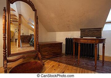 nublado, hogar, -, espejo