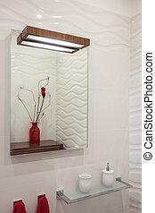 nublado, hogar, -, espejo cuarto baño