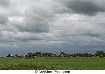 nublado, holandés, cielo