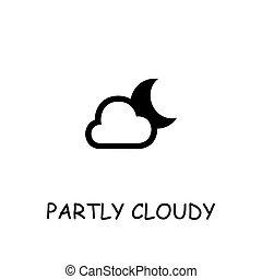nublado, icono, vector, plano, en parte