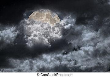 nublado, lua cheia