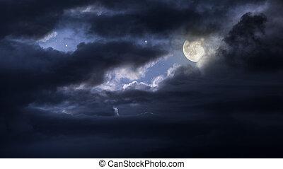 nublado, lua cheia, noturna