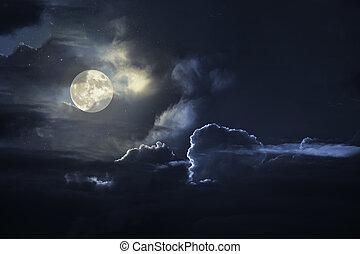 nublado, luna llena, noche