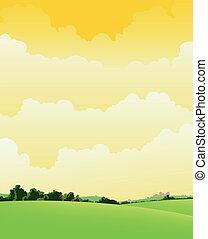 nublado, primavera, verão, paisagem