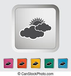 nubosidad, solo, icon.