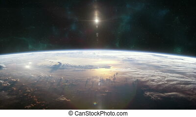 nucléaire, attaque, la terre, orbite, vu