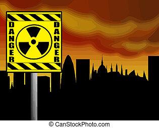 nucléaire, avertissement, danger