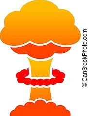 nucléaire, nuage, icône, vecteur, champignon