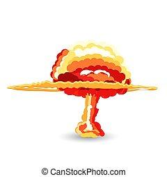 nucléaire, vecteur, explosion., dessin animé, illustration.