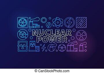nucléaire, vecteur, puissance, illustration