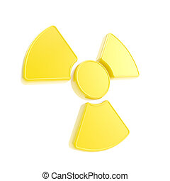 Nuclead radiation yellow glossy sign isolated on white